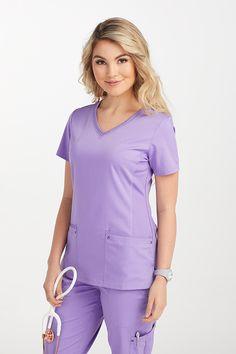 b7f04f3abc8 Healing Hands Purple Label Juliet V-neck Side Knit Panels Scrub Tops    Scrubs & Beyond
