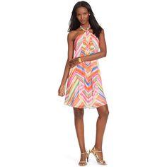 Lauren Ralph Lauren Printed Halter Dress ($95) ❤ liked on Polyvore featuring dresses, pink multi, lauren ralph lauren dresses, halter neckline dress, halter neck dress, stripe dress and pink striped dress