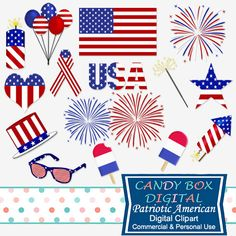 Patriotic Fourth Of July Clipart by CandyBoxDigital. Great for scrapbooks, journals, papercrafts, web design and blogs! At our Etsy shop.