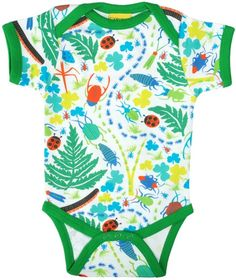Bugs Short Sleeve Onesie by Duns Sweden Spring '17. Organic Cotton Kids Clothes offered in Canada by Modern Rascals.