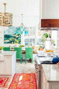 Colorful kitchen with rugs!