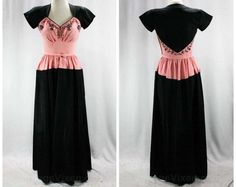 1940s Evening Dress  Size 5 to 6  Black & Pink by vintagevixen