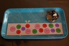 A piece of card that you have traced the various coins on, writing the coins value on each, and a cup full of coins    How it's Done  Child uses the coins to match the appropriate coin with it's value/place on the card.