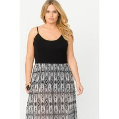 Printed Maxi Dress With Neck Trim Detail #suzyshier