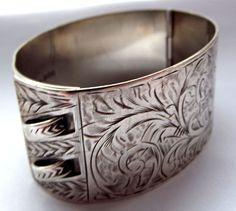 Art Deco Sterling Silver Ornate Cuff Bracelet Hmk 1937