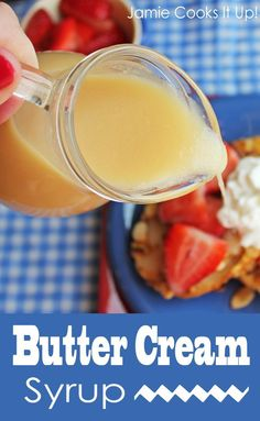 Butter Cream Syrup…It's rich buttery creamy silky smooth and absolutely fabulous. It uses basic ingredients that many of us keep on hand. It's glorious over waffles french toast pancakes or crepes. You could even drizzle it over vanilla ice cream What's For Breakfast, Breakfast Recipes, Chutney, Salsa Dulce, Homemade Syrup, Mantecaditos, Pancakes And Waffles, Absolutely Fabulous, Fudge