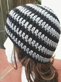 Beanie Crochet Hat in Black and Grey unisex by YarnOverDesign, $12.00