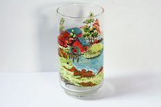 Vintage Glass Cup With Countryside Watermill Covered Bridge Image