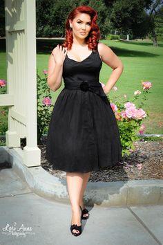 First Class Dress with Velvet Flower Belt in Black