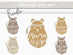 svg bundle bear family, handlettered mama bear baby bear, boho clipart, kids room, nursery wall decor, cricut, silhouette cameo, dxf eps png #etsy #etsyshop #boho #bohostyle #svg #svgfiles #cricut #cricutmade #cricutexplore #handmade #silhouette #silhouettecameo #mamabear #mama #craftsforkids #crafts #craftsforkids #papabear #bears #shirts #matchingoutfits #family #svgcuts