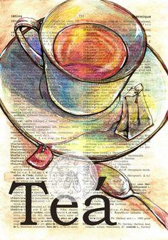 Tea' Mixed Media Drawing on Distressed, French/English DIctionary - flying shoes art studio (Mix Media Illustration) Image Pinterest, Mini Toile, Newspaper Art, Book Page Art, Dictionary Art, Tea Art, Vintage Diy, Shoe Art, Medium Art