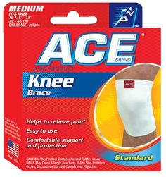 ACE Knee Brace Medium by ACE. $7.99. INDICATIONS: Helps to relieve pain. Reinforced edges for durability. Durable material permits a a full range of movement while delivering comfortable support and protection. Contoured to natural bend of knee to minimize bunching and slipping.