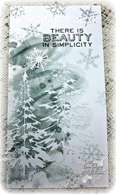 The Funkie Junkie using Tim Holtz Woodlands die iced spruce distress ink & Tim Holtz Paper Snowflakes Mini die Christmas Card Crafts, Christmas Cards To Make, Noel Christmas, Xmas Cards, Holiday Cards, Handmade Greeting Card Designs, Handmade Tags, Winter Karten, Scrapbooking