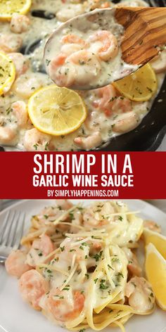 Shrimp in Garlic Wine Sauce- Need some new dinner ideas? This is a quick recipe for sauteed shrimp in a creamy garlic wine sauce served over linguine. It's a delicious hit! Shrimp in Garlic Wine Sauce Simply Happenings Shrimp Recipes For Dinner, Shrimp Recipes Easy, Fish Recipes, Healthy Recipes, Shrimp And Wine Recipe, Yummy Quick Recipes, Creamy Seafood Sauce Recipe, Quick Family Recipes, Quick Recipes For Dinner