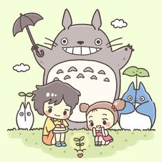 Mei, Satsuki and Totoro! Totoro Quotes, Studio Ghibli Quotes, Studio Ghibli Movies, Hayao Miyazaki, Totoro Drawing, Tales From Earthsea, Wallpaper Desktop, Wallpaper Backgrounds, Totoro Merchandise