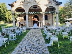 A small size wedding ceremony at the American Farm School Wedding Ceremony, Catering, Greece, Sidewalk, Events, Patio, American, School, Outdoor Decor