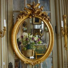 Miroir Doré Décor aux Oiseaux fin XIXe
