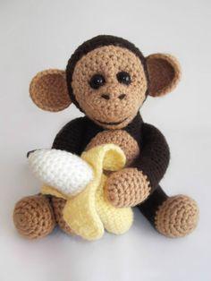 Crochet Monkey Crochet Monkey, Crochet Animal Amigurumi, Amigurumi Patterns, Crochet Animals, Crochet Dolls, Knit Crochet, Sewing Patterns, Crochet Patterns, Stuffed Toys Patterns