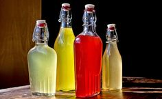 homemade citrus liquer (from left: meyer lemon, cara cara orange, blood orange, pink grapefruit) Orange Vodka, Blood Orange, Citrus Vodka, Orange Pink, Lavender Syrup, Homemade Liquor, Liqueur, Hot Sauce Bottles, Cocktails