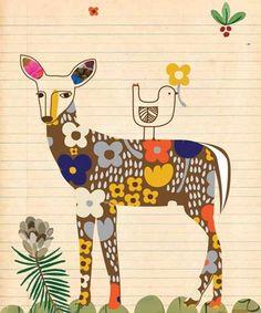 Deer + flowers note card