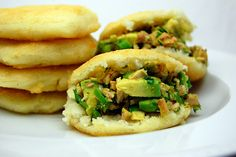 Venezuelan Arepas (corn cakes stuffed with chicken and avocado)