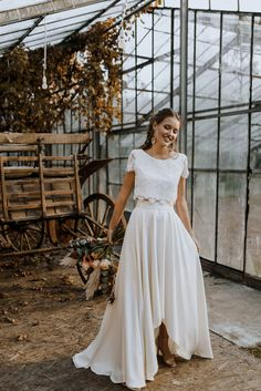 Two Piece Wedding Dress, Tea Length Wedding Dress, Wedding Dress Crop Top, Wedding Skirt, Two Piece Gown, Bridal Tops, Bridal Lace, Crop Top Dress, The Dress