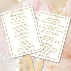 Wedding Program Fan Madelyn Blush Pink Gold Make Your Own Programs W These