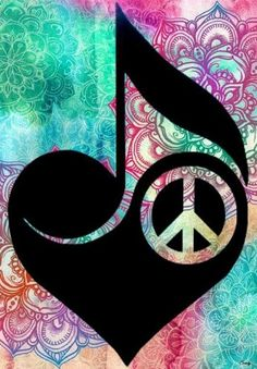Peace, Love and music Hippie Peace, Happy Hippie, Hippie Love, Love Music Tattoo, Music Tattoos, Music Note Symbol, Music Symbols, Peace Sign Art, Peace Signs