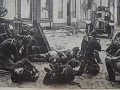 Poignant WW1 postcard Belgian Soldiers barricaded in the streets of Alost | eBay