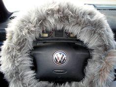 $25 Grey Fuzzy Steering Wheel Cover, Car accesories, Furry Steering Wheel