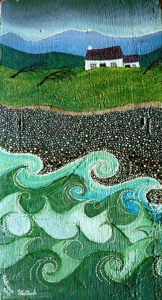 Website of artist and illustrator Valériane Leblond Landscape Quilts, Landscape Art, Art And Illustration, Ocean Art, Ocean Waves, Primitive Folk Art, Naive Art, Imagines, Fabric Art