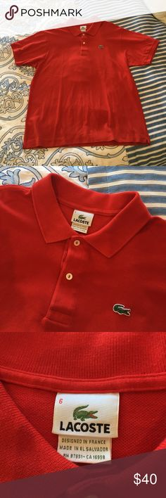 Lacoste polo shirt Worn once. Real red color. Size 6= L/XL Lacoste Shirts Polos