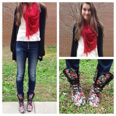 Floral boots, scarf to tie in the colors. Variation: leggings,or tights and short skirt. Scarf is key.