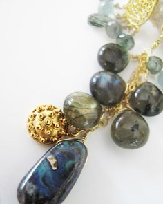 mermaid treasure bundle necklace, boulder opal, labradorite and tiny sapphires drip from 14k gold fill bubbles, adove fine jewelry