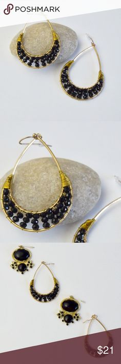 """1 Left! Black Glass Bead Hoops Beautiful gold and black dangle hoops. Made with lead and Nickel Compliant gold plated metal and wired wrapped black glass beads. Approximately 2.5"""" in length. Onlo Boutique  Jewelry Earrings"""