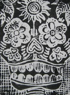 Black and white scratch foam print of a skull inspired by Jose Posada