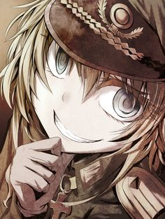 youjo senki tanya degurechaff blonde eyelashes female gloves grin hitsujisan iron cross looking at viewer medium hair military military hat military uniform smile solo uniform vlue eyes Chica Anime Manga, Kawaii Anime, Anime Art, Tanya Degurechaff, Tanya The Evil, Anime Military, Dark Anime, Manga Games, Yandere