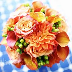 """Orange Bridal Bouquet: """"An orange mix of calla lilies, dahlias and garden roses with berries. Orange Wedding, Rose Wedding, Fall Wedding, Wedding Flowers, Wedding Ideas, Wedding Inspiration, Wedding Stuff, Wedding Things, Wedding Bells"""