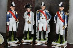 Set of 4 Napoleonic Officer Soldier Porcelain figurine statues names