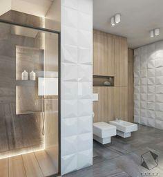 Interior Design Classes, 3d Tiles, Tile Design, Bathroom Interior, Bathroom Inspiration, Small Bathroom, Bathroom Lighting, Tall Cabinet Storage, Architecture Design