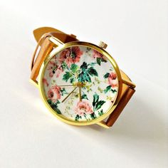 Original Freeforme Floral Watch Vintage Style Leather.  Love the prints!