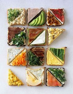 For a sandwich party, layout halves so people can choose...
