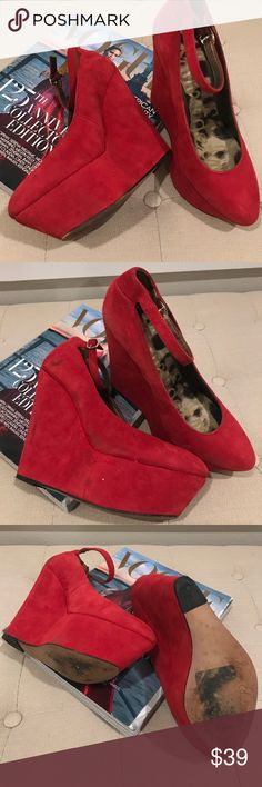 Put on Your Red Suede Shoes! Nothing like a pair of red suede wedges to make you feel like going dancing!  They were worn a few times so there are some scuff mark on the side of the right shoe The left barely has any!  The bottoms also have spots but the heels are in perfect condition! Sam Edelman Shoes Wedges