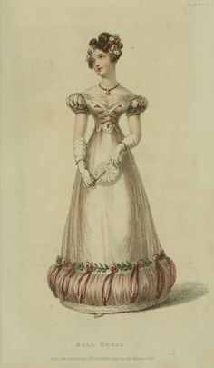 Ballgown, 1825 UK, Ackermann's Repository