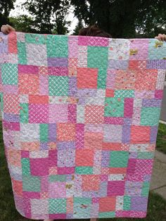 Pastel Baby Quilt by GreenCottageQuilts on Etsy, $90.00