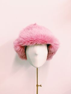 Cecile Millinery, pink lamb fur chapka . Handmade in London