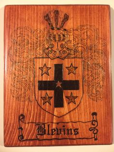 Burned Family Crest Plaques, Coat of Arms Plaques, Wood burned Sign, Pyrography Indoor Sign