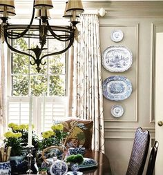 The thing I love about working in this business, helping people decorate their homes for over 20 years, are the relationships I've…. blue and white plates, dining room Traditional Decor, Traditional House, French Country Dining, Interior Decorating, Interior Design, Decorating Ideas, Red Walls, White Decor, Beautiful Interiors