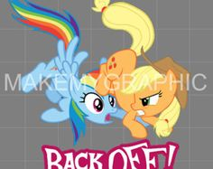 Apple Jack  Back Off -  MLP FIM Decal  for Cars and Laptops Applejack and Rainbow Dash by makemygraphic. Explore more products on http://makemygraphic.etsy.com