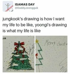 Suga's is hilariously cute; he tried XD jungkook's such a good drawer tho